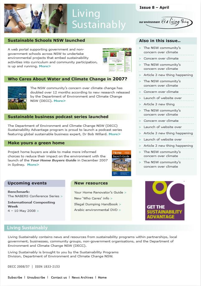Living Sustainably e-news