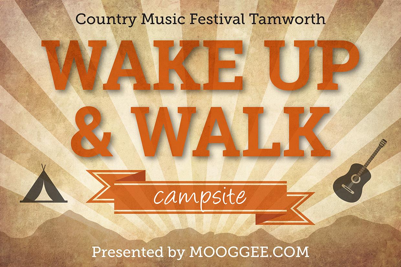 Wake up and walk signage