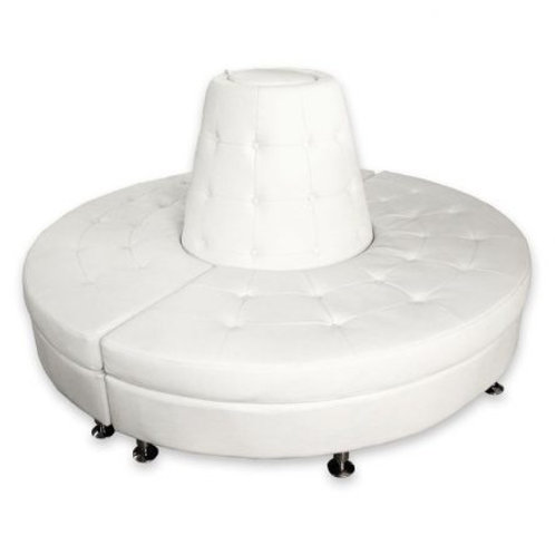 White Leather Round Banquette