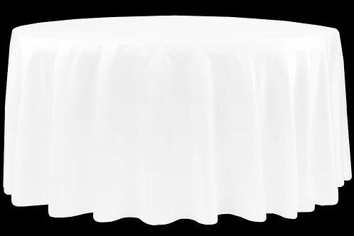 """White Lamour Satin 132"""" Round Linen"""