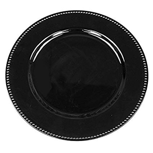 Beaded Round Black Charger