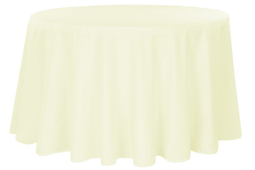 """Ivory Polyester 120"""" Round Linen"""