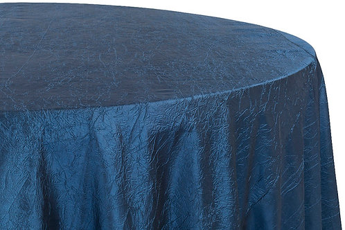 "Navy Blue Crushed Taffeta 132"" Round Linen"