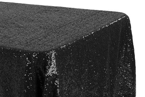 "Black Sequin 90x132"" Oblong Linen"