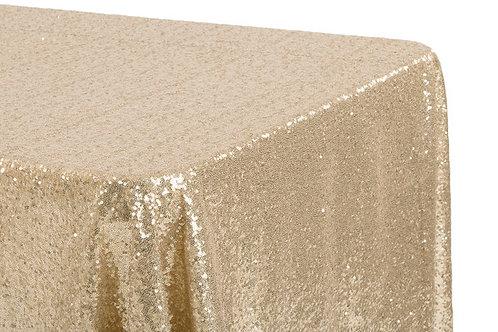 "Champagne Sequin 90x132"" Oblong Linen"