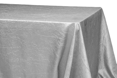 """Silver Crushed Taffeta 90x132"""" Oblong Linen"""