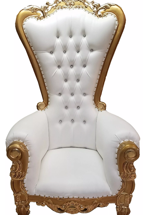 Gold/White Throne Chair
