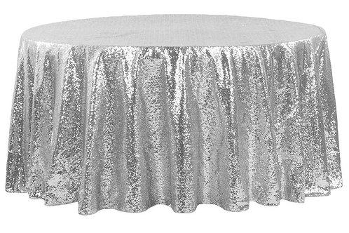 """Silver Sequin 120"""" Round Linen"""