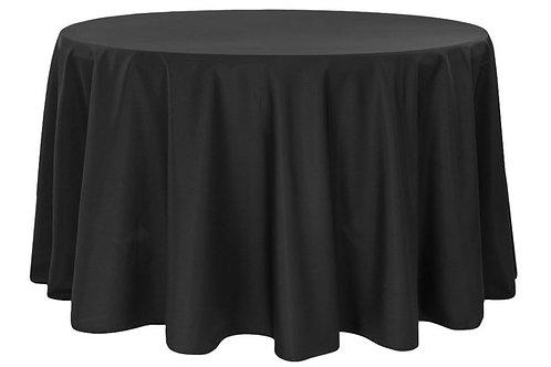 "Black Polyester 132"" Round Linen"
