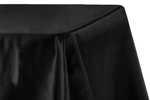 "Black Lamour Satin 90x156"" Oblong Linen"