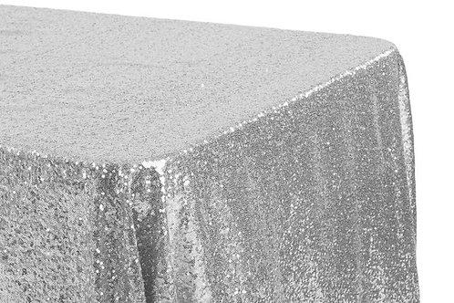 """Silver Sequin 90x132"""" Oblong Linen"""