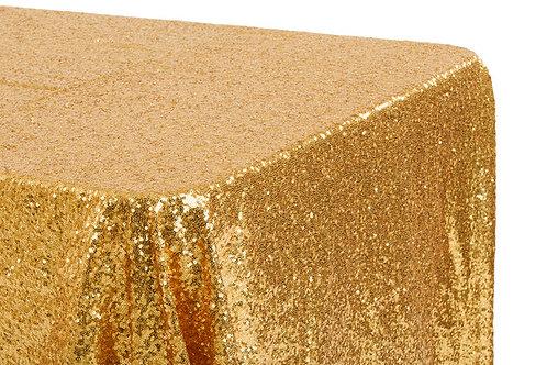 """Gold Sequin 90x132"""" Oblong Linen"""