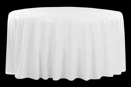 """White Sequin 120"""" Round Linen"""