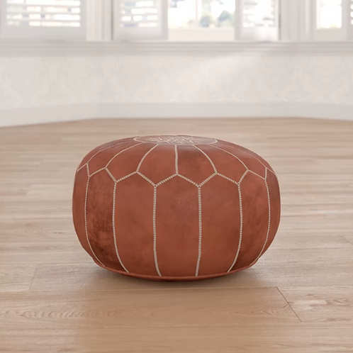 Carolos Leather Pouf