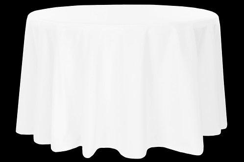 "White Polyester 120"" Round Linen"