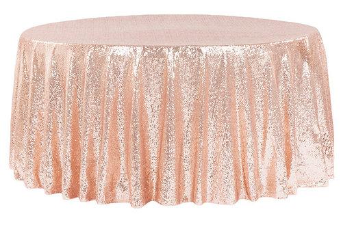"Rose Gold/Blush Sequin 132"" Round Linen"