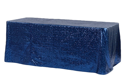 "Navy Blue Sequin 90x132"" Oblong Linen"