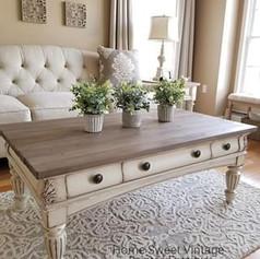 Table basse camapgne chic blanc et bois
