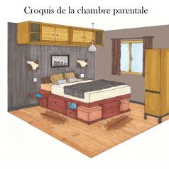 Agencement intérieur de la chambre d'un appartement vintage à la montagne