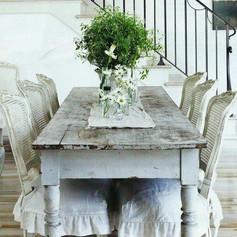Table à manger campagne blanc et bois
