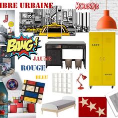 Planche couleur et matériaux chambre d'enfant Marvel