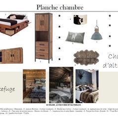 planche couleurs et matériaux  d'une chambre d'appartement vintage à la montagne