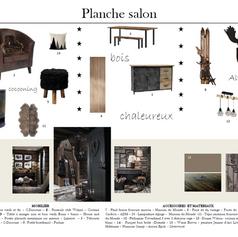 planche couleurs et matériaux salon appartement vintage montagne