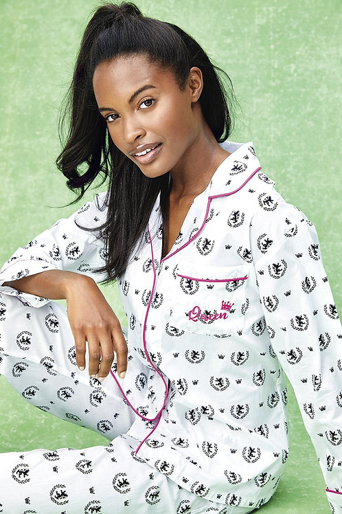 Embroidered Queen Women's Cotton Pajama Set