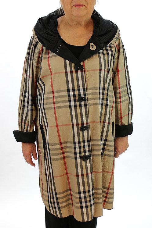 Pleated Plaid Coat