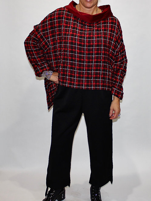 red plaid layering top