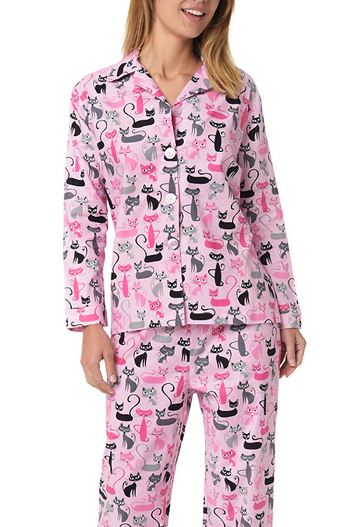 Mod Cats Women's Cotton PJ Set - Pink