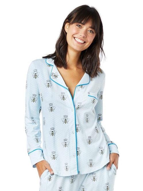 Queen Bee Blue Women's Stretch Pajama Set