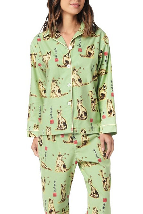 Green Haiku Kitty Women's Flannel Lounger