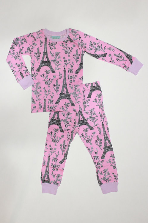 Kids Eiffel Tower Pink Pajama Set