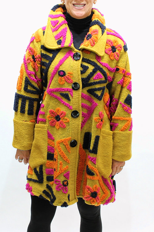 'Graffiti' Wool Coat - Gold
