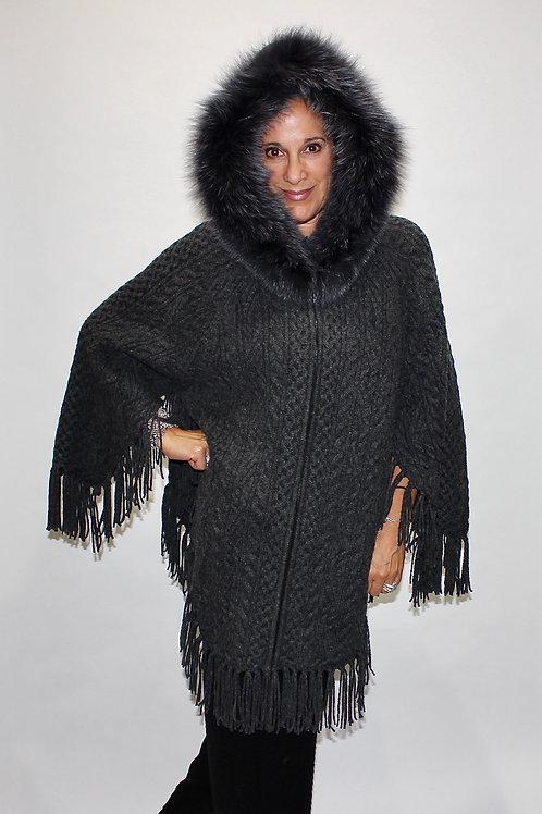 zipper fringe hooded poncho