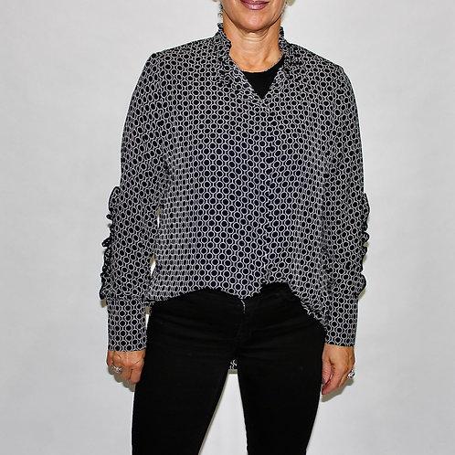 ruffle neck detail circle blouse