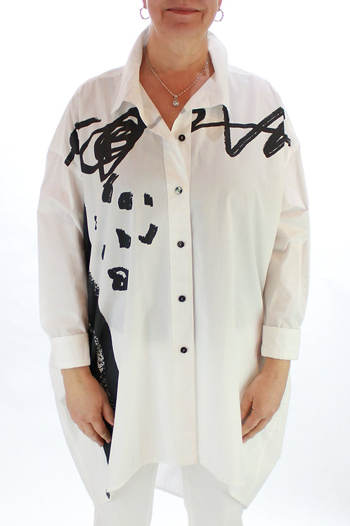 White Abstract Long Blouse