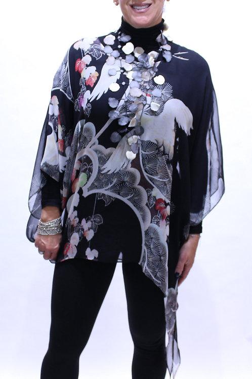 Crane print silk poncho