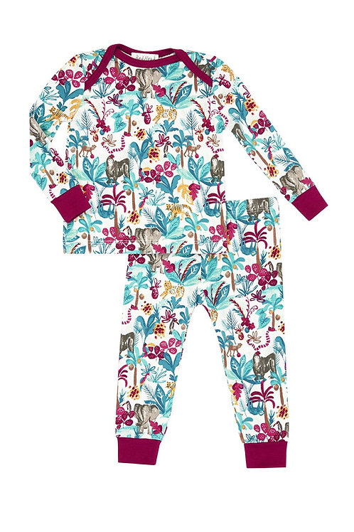 Kids Jungle print stretch jersey pajamas by Bedhead