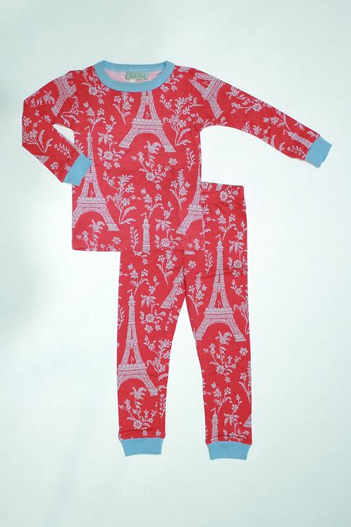 Kids Eiffel Tower Red Pajama Set