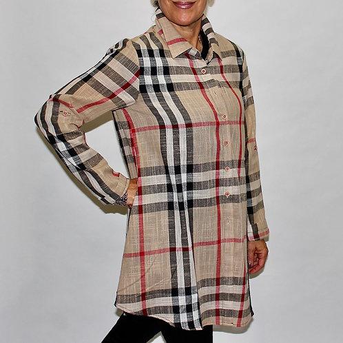 plaid zip back blouse