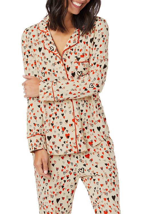 All Over Hearts Women's Stretch Pajama Set