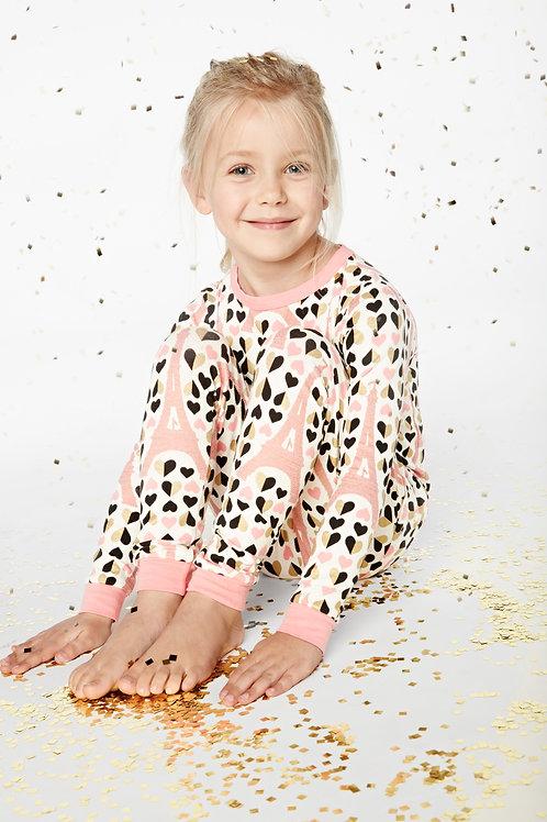 Kids' Eiffel Gold Hearts Stretch Pajama