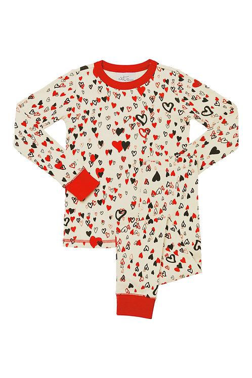 Kids All Over Hearts Stretch Pajama Set