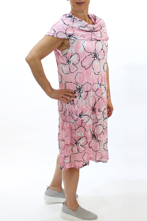 Pink Two Pocket Crinkle Dress