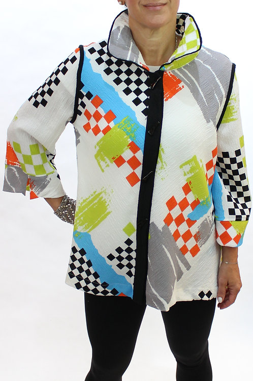 Abstract Check Blouse