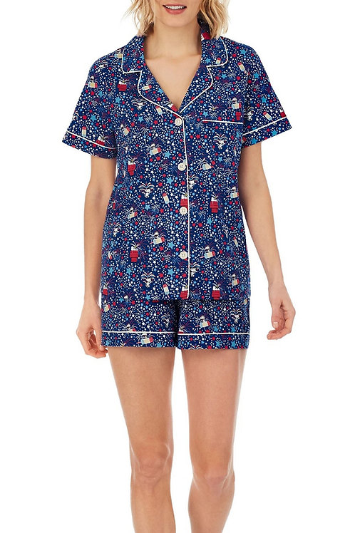 Snoopy Stars Women's Stretch Shorty Pajama Set