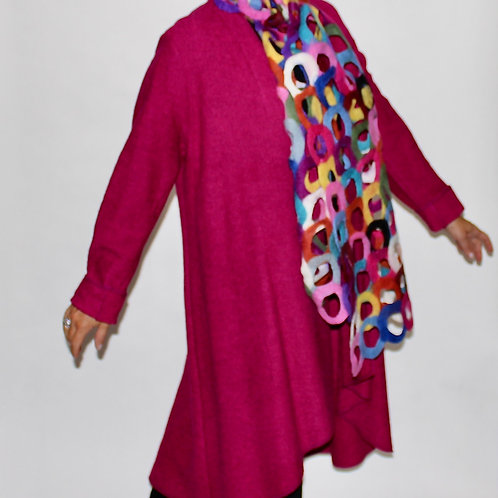 fushia boiled wool swing coat
