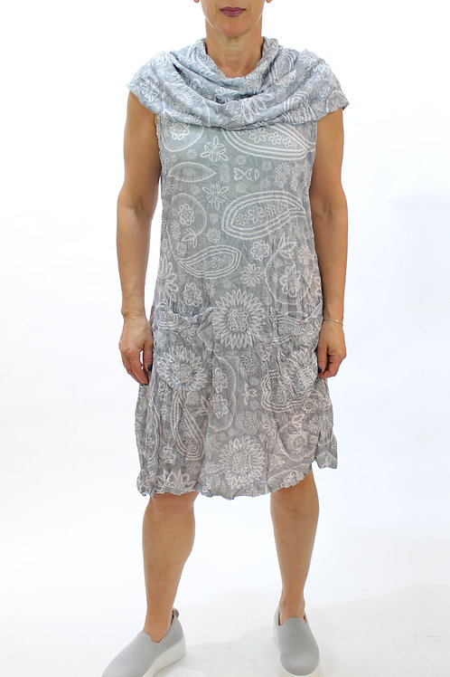 Grey Two Pocket Crinkle Dress